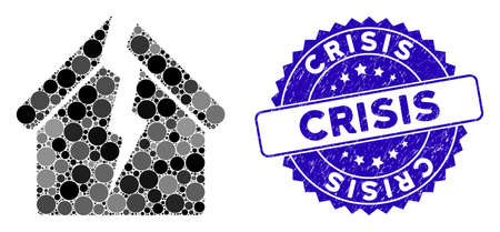 Mosaic housing crisis icon and rubber stamp watermark with Crisis text. Mosaic vector is created from housing crisis icon and with random spheric elements. Crisis stamp uses blue color,