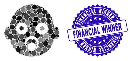 Mosaic baby head icon and distressed stamp seal with Financial Winner phrase. Mosaic vector is designed with baby head icon and with random circle spots. Financial Winner stamp seal uses blue color, Illustration