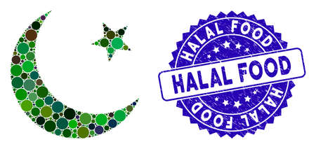 Mosaic muslim moon icon and grunge stamp seal with Halal Food text. Mosaic vector is composed from muslim moon icon and with random round items. Halal Food stamp seal uses blue color,