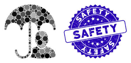 Mosaic user safety umbrella icon and rubber stamp seal with Safety text. Mosaic vector is created with user safety umbrella pictogram and with randomized round elements.