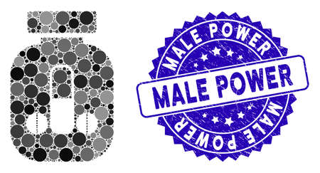 Mosaic male power vial icon and corroded stamp seal with Male Power text. Mosaic vector is composed from male power vial pictogram and with random round elements.