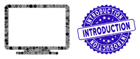 Mosaic display icon and corroded stamp seal with Introduction caption. Mosaic vector is designed with display pictogram and with scattered circle items. Introduction stamp seal uses blue color,