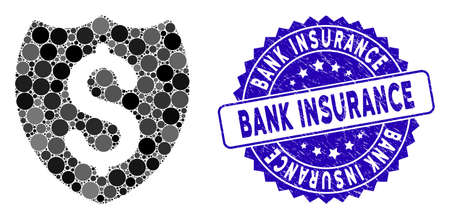 Mosaic bank insurance icon and rubber stamp watermark with Bank Insurance text. Mosaic vector is designed with bank insurance icon and with random circle items.