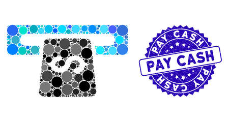 Mosaic banking machine icon and corroded stamp seal with Pay Cash phrase. Mosaic vector is created with banking machine icon and with randomized spheric elements. Pay Cash stamp seal uses blue color, Vektoros illusztráció