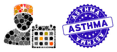 Mosaic doctor calendar icon and distressed stamp seal with Asthma text. Mosaic vector is formed with doctor calendar icon and with randomized circle items. Asthma stamp seal uses blue color,