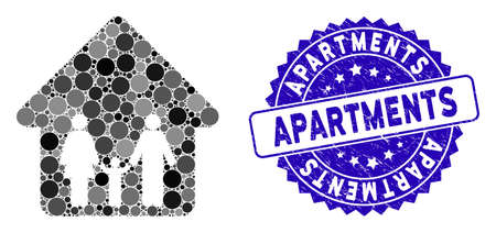 Collage family home icon and grunge stamp seal with Apartments text. Mosaic vector is designed with family home icon and with random circle items. Apartments stamp uses blue color, and grunge design. Illustration