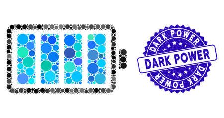 Mosaic battery icon and corroded stamp seal with Dark Power text. Mosaic vector is formed from battery icon and with scattered spheric spots. Dark Power stamp seal uses blue color, and dirty surface. Ilustração