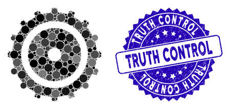 Mosaic cog wheel icon and distressed stamp seal with Truth Control text. Mosaic vector is formed with cog wheel icon and with random spheric spots. Truth Control stamp uses blue color,