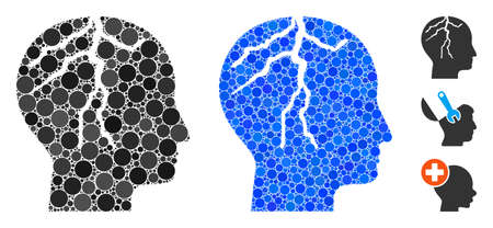 Brain cancer mosaic of small circles in different sizes and color tints, based on brain cancer icon. Vector small circles are grouped into blue mosaic.