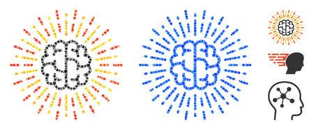 Brain radiance composition of round dots in variable sizes and shades, based on brain radiance icon. Vector round dots are united into blue composition. Ilustração