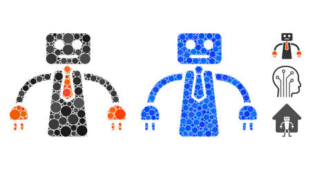 Boss robot mosaic of filled circles in various sizes and color tints, based on boss robot icon. Vector small circles are organized into blue mosaic. Dotted boss robot icon in usual and blue versions.