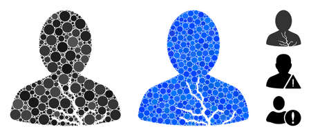 Carcinoma patient mosaic of round dots in variable sizes and color hues, based on carcinoma patient icon. Vector round dots are organized into blue collage.