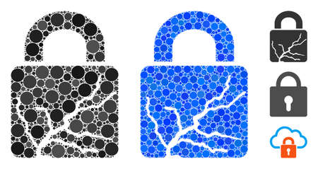 Corrupted lock mosaic of round dots in variable sizes and color tones, based on corrupted lock icon. Vector round dots are combined into blue composition.