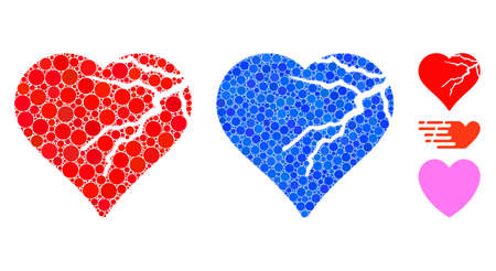 Corrupted love heart composition of round dots in different sizes and color tones, based on corrupted love heart icon. Vector round dots are composed into blue collage. Ilustrace