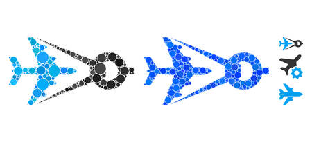 Airplane project mosaic of filled circles in different sizes and color tints, based on airplane project icon. Vector filled circles are composed into blue collage.