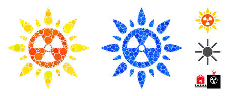 Atomic radiation composition of round dots in different sizes and color tinges, based on atomic radiation icon. Vector dots are organized into blue composition.