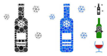 Cold vodka bottle mosaic of circle elements in different sizes and color tints, based on cold vodka bottle icon. Vector circle elements are united into blue mosaic.