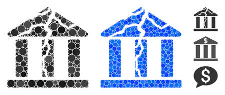 Corrupted bank composition of filled circles in various sizes and shades, based on corrupted bank icon. Vector filled circles are united into blue composition. Illustration