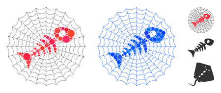 Dead fish net composition of spheric dots in different sizes and color tinges, based on dead fish net icon. Vector dots are combined into blue composition.