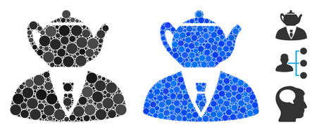 Dummy person mosaic of small circles in variable sizes and color tones, based on dummy person icon. Vector small circles are grouped into blue mosaic.