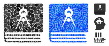Engineering book composition of filled circles in various sizes and color tints, based on engineering book icon. Vector filled circles are organized into blue composition.