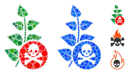 Herbicide toxin mosaic of small circles in variable sizes and shades, based on herbicide toxin icon. Vector small circles are combined into blue composition.  イラスト・ベクター素材
