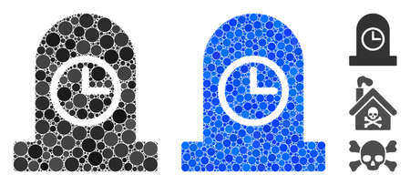 Expired grave mosaic of round dots in variable sizes and color hues, based on expired grave icon. Vector round dots are united into blue illustration.