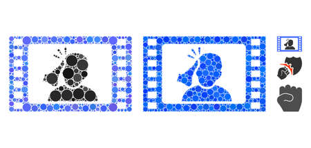 Fight movie mosaic of circle elements in different sizes and color tinges, based on fight movie icon. Vector small circles are united into blue mosaic.