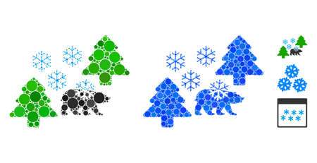 Frost Siberia mosaic of round dots in variable sizes and color tints, based on frost Siberia icon. Vector dots are united into blue mosaic. Dotted frost Siberia icon in usual and blue versions.
