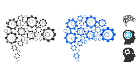 Gear brain mosaic of circle elements in variable sizes and color tones, based on gear brain icon. Vector circle elements are composed into blue mosaic.