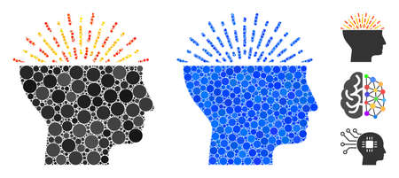 Imagination composition of round dots in variable sizes and color tones, based on imagination icon. Vector round dots are grouped into blue collage. Dotted imagination icon in usual and blue versions.