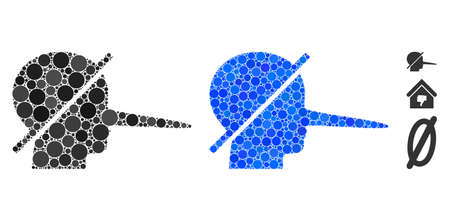 No liars mosaic of filled circles in different sizes and color tones, based on no liars icon. Vector filled circles are grouped into blue composition. Dotted no liars icon in usual and blue versions.