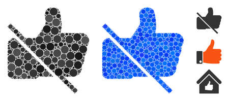 No likes mosaic of filled circles in variable sizes and color hues, based on no likes icon. Vector random circles are organized into blue mosaic. Dotted no likes icon in usual and blue versions. Illustration