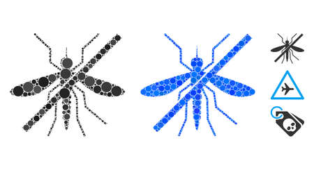 No mosquito composition of spheric dots in variable sizes and color tints, based on no mosquito icon. Vector round dots are united into blue composition.