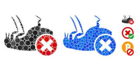 Kill flea composition of filled circles in various sizes and color tinges, based on kill flea icon. Vector small circles are composed into blue composition.