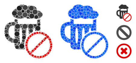 No beer drinking mosaic of small circles in variable sizes and color tinges, based on no beer drinking icon. Vector small circles are combined into blue mosaic. Illusztráció