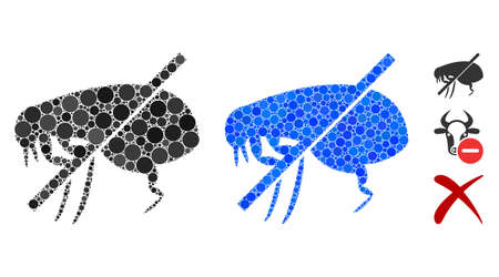 No fleas mosaic of filled circles in different sizes and color hues, based on no fleas icon. Vector filled circles are organized into blue mosaic. Dotted no fleas icon in usual and blue versions.