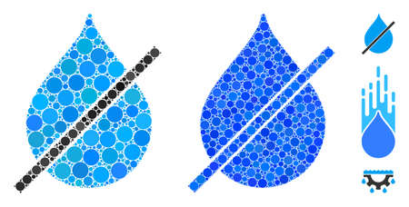No water drop composition of spheric dots in variable sizes and color tones, based on no water drop icon. Vector round dots are combined into blue composition.