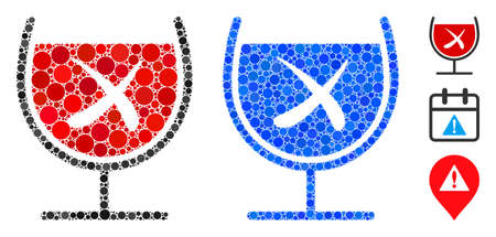 No wine drinking mosaic of filled circles in different sizes and color tinges, based on no wine drinking icon. Vector filled circles are composed into blue mosaic.