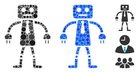 Official robot mosaic of filled circles in different sizes and color tints, based on official robot icon. Vector filled circles are composed into blue mosaic. Çizim
