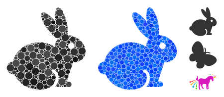 Rabbit mosaic of circle elements in various sizes and color tones, based on rabbit icon. Vector small circles are organized into blue mosaic. Dotted rabbit icon in usual and blue versions.