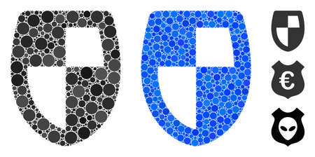 Shield composition of filled circles in different sizes and shades, based on shield icon. Vector filled circles are composed into blue mosaic. Dotted shield icon in usual and blue versions.