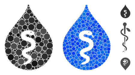 Snake oil mosaic of round dots in different sizes and shades, based on snake oil icon. Vector dots are combined into blue mosaic. Dotted snake oil icon in usual and blue versions.