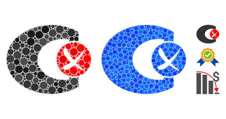 Standard control failed composition of round dots in different sizes and color tints, based on standard control failed icon. Vector round dots are combined into blue mosaic.