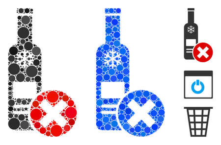 Stop vodka drinking mosaic of small circles in variable sizes and color tints, based on stop vodka drinking icon. Vector small circles are united into blue mosaic.
