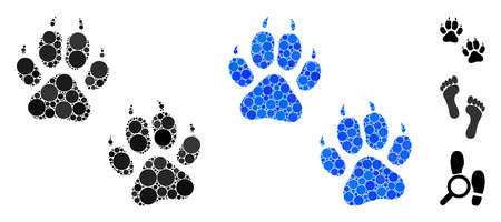 Tiger footprints mosaic of filled circles in different sizes and color tints, based on tiger footprints icon. Vector random circles are united into blue mosaic. 向量圖像