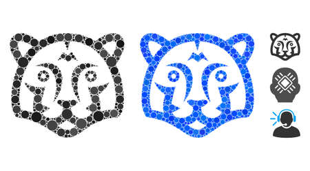 Tiger head composition of filled circles in variable sizes and color tinges, based on tiger head icon. Vector filled circles are combined into blue mosaic.