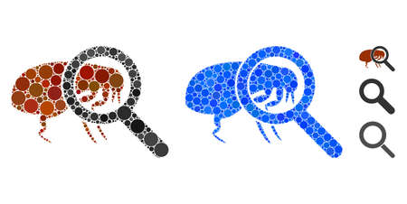 Total flea control mosaic of small circles in different sizes and color tints, based on total flea control icon. Vector small circles are grouped into blue collage. Foto de archivo - 137369462