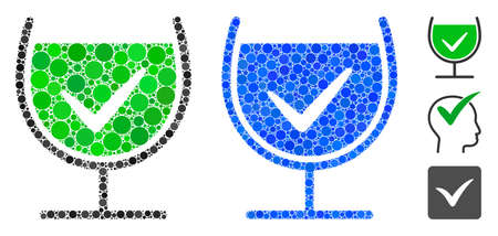 True drink glass mosaic of round dots in different sizes and color tints, based on true drink glass icon. Vector dots are united into blue illustration.