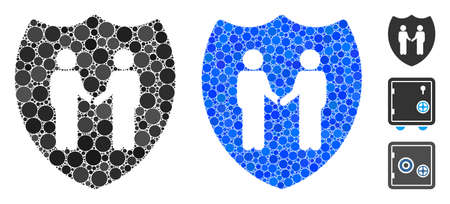 Trust shield mosaic of small circles in variable sizes and color tones, based on trust shield icon. Vector round dots are organized into blue mosaic. Иллюстрация
